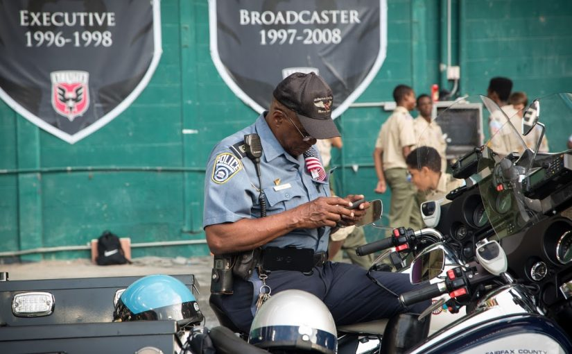 motorcycle officer at a large event