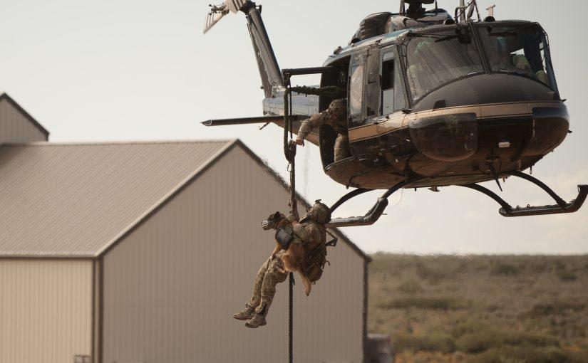 BORTAC helicopter K9 lift