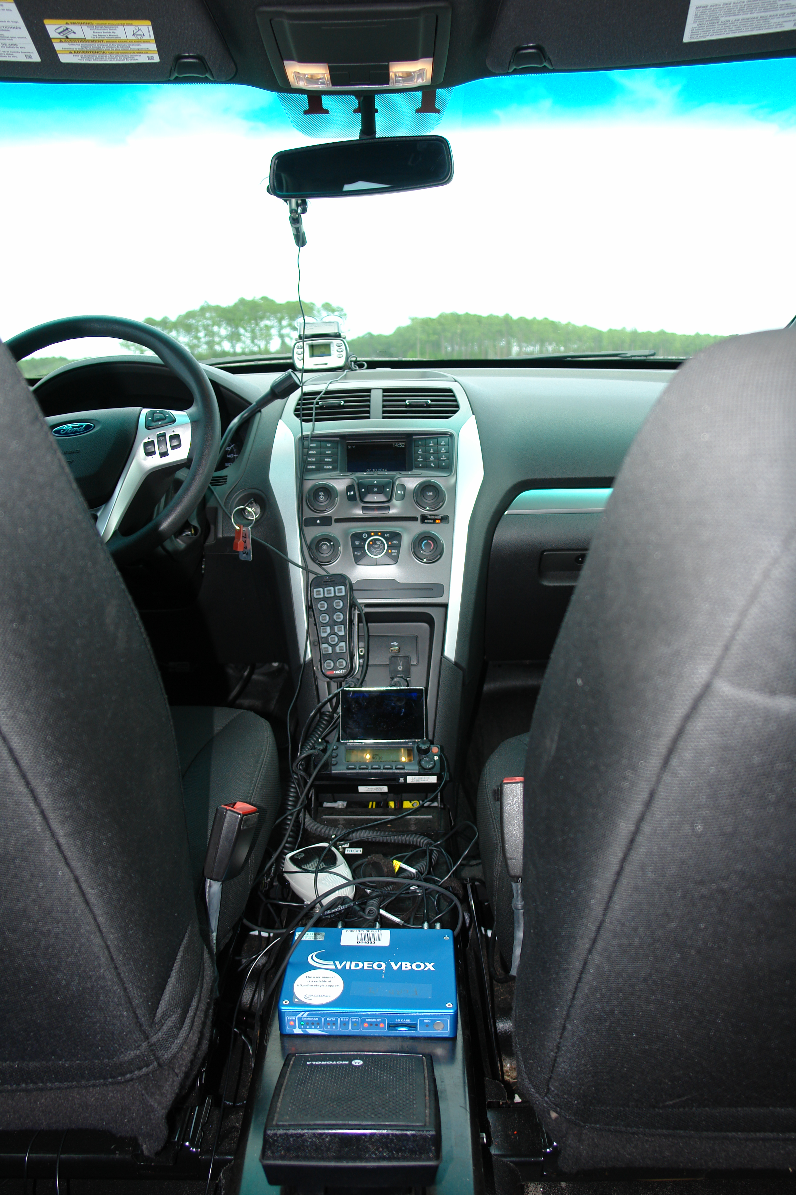 Configuration of data collection devices inside one of the test vehicles.